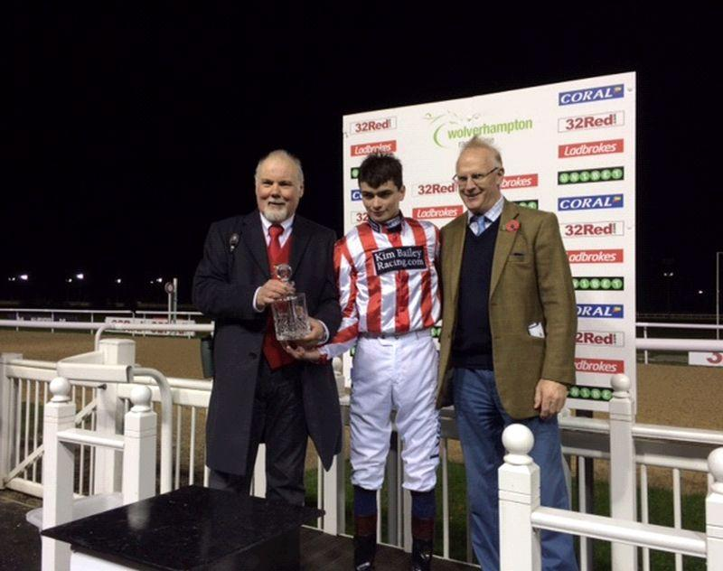 Prize giving for Norman Carter and supportive  Mark Laws.. were they the only people on the racecourse?