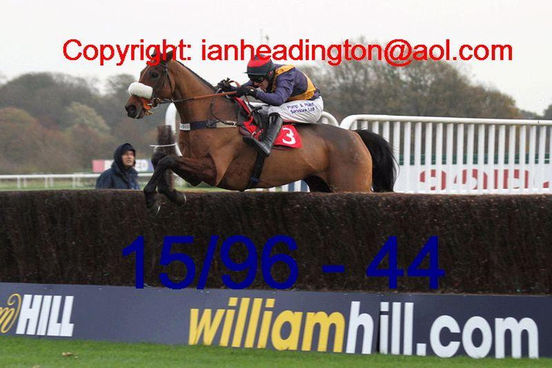 Gallery Exhibition jumping the last at Kempton yesterday