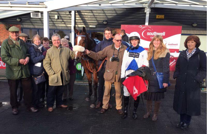 Boolavard King after the race with some of his relieved owners...