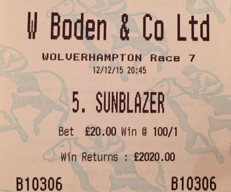 Norman Carter's ticket.. Sunblazers owner believes in his horse..