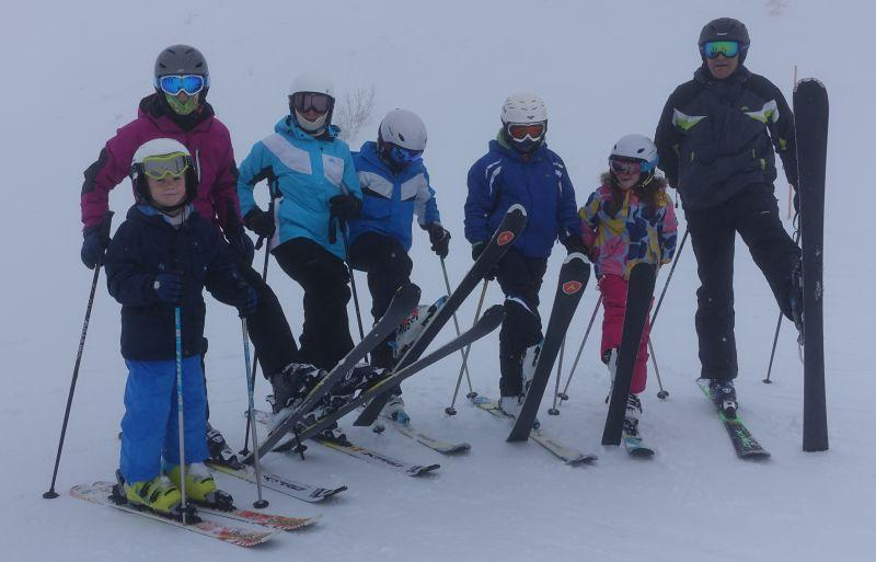 Clarkson and Baileys. Arthur, Bella, Clare, Patrick, Archie, Trins and Tom.. Skis up..