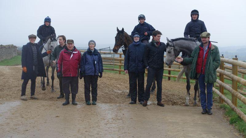 Zander Whitehurst, James Ware, Tony Turley, Carol Laycock, Richard Laycock, Charlie Bryant and Andy McLean who were here for a morning on the gallops