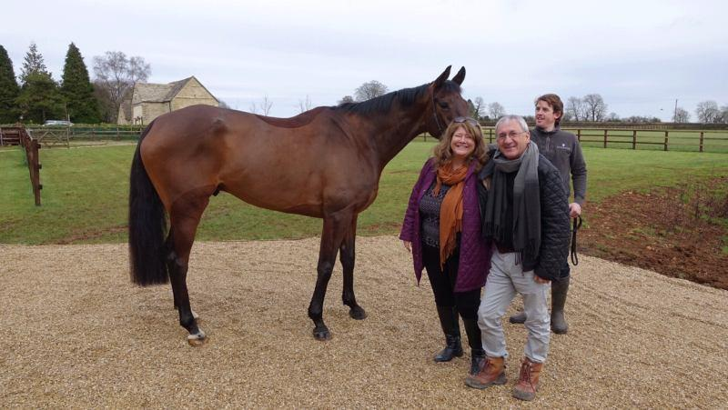 Elaine and Martyn Booth with their new horse Mr Brinkley.. the lad holding Mr B is Jason Maguire