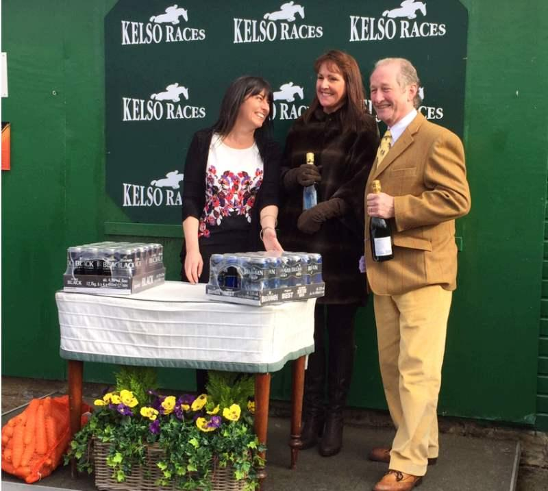 Prize giving.. Notice the beer for my staff and the carrots for the horses.. Kelso look after the staff and horses well.