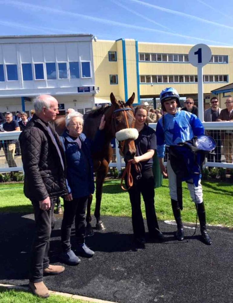 Colin and Gillian Morgan in the winners enclosure with Aunty Ann