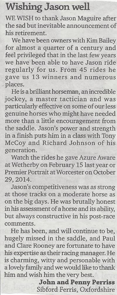 John Perriss' letter to the Racing Post