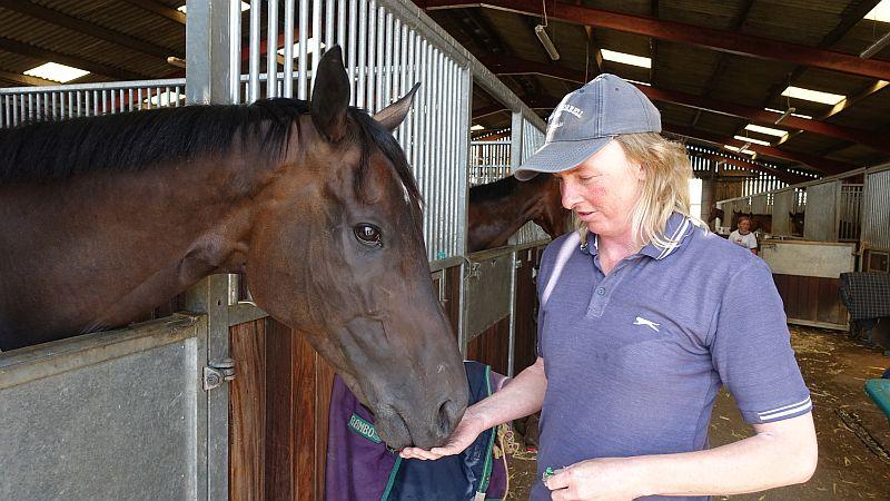 Leslie Shillito who looks after David and Julie Martins horses at home with Forgotten Hero