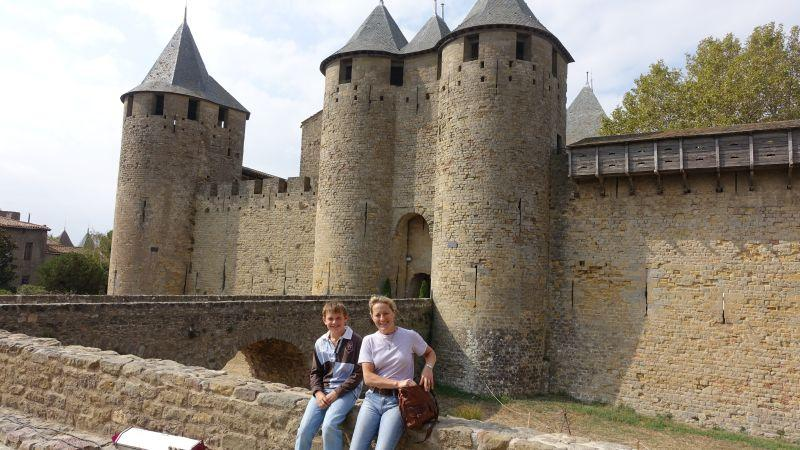 Clare and Archie outside Carcassonne Castle