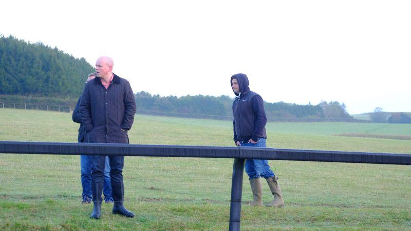 Did that go fast? John Sheppard watching his horse Robin The Raven work with one of David Cameron's hoodie friends.. not sure you would want to hug this one!!