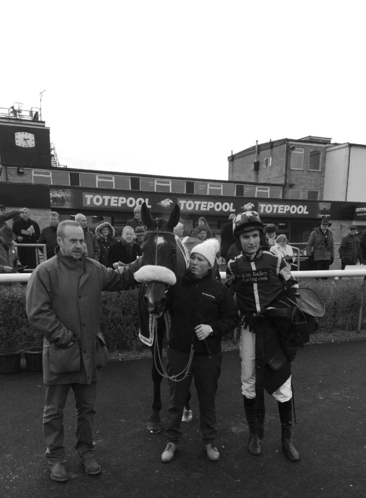 Matt Lambert with his first winner Trojan Star and jockey Tom Bellamy