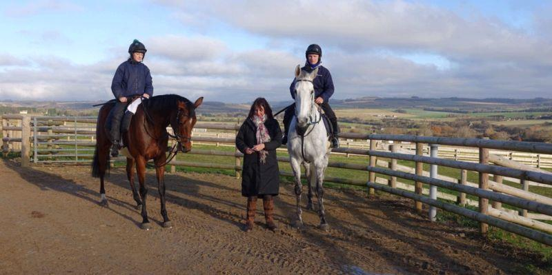 Karen Masters with her two KBRP horses Our Belle Amie and Knockanrawley