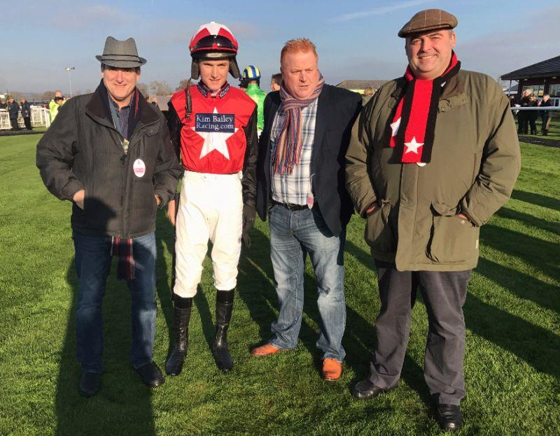 Chris Straghalis, Richard Connolly and Steve Winter .with jockey Tom Bellamy before their horse Derrintogher Bliss ran