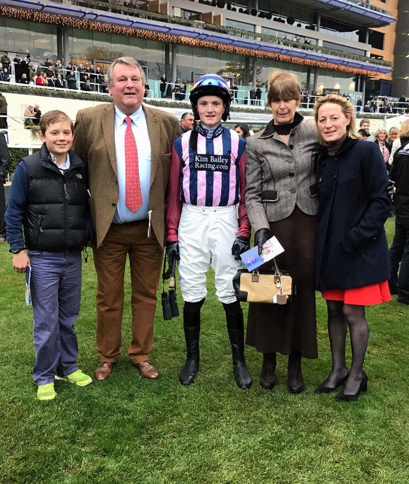 Keith and Liz Ellis with Archie and Clare before the race at Ascot yesterday