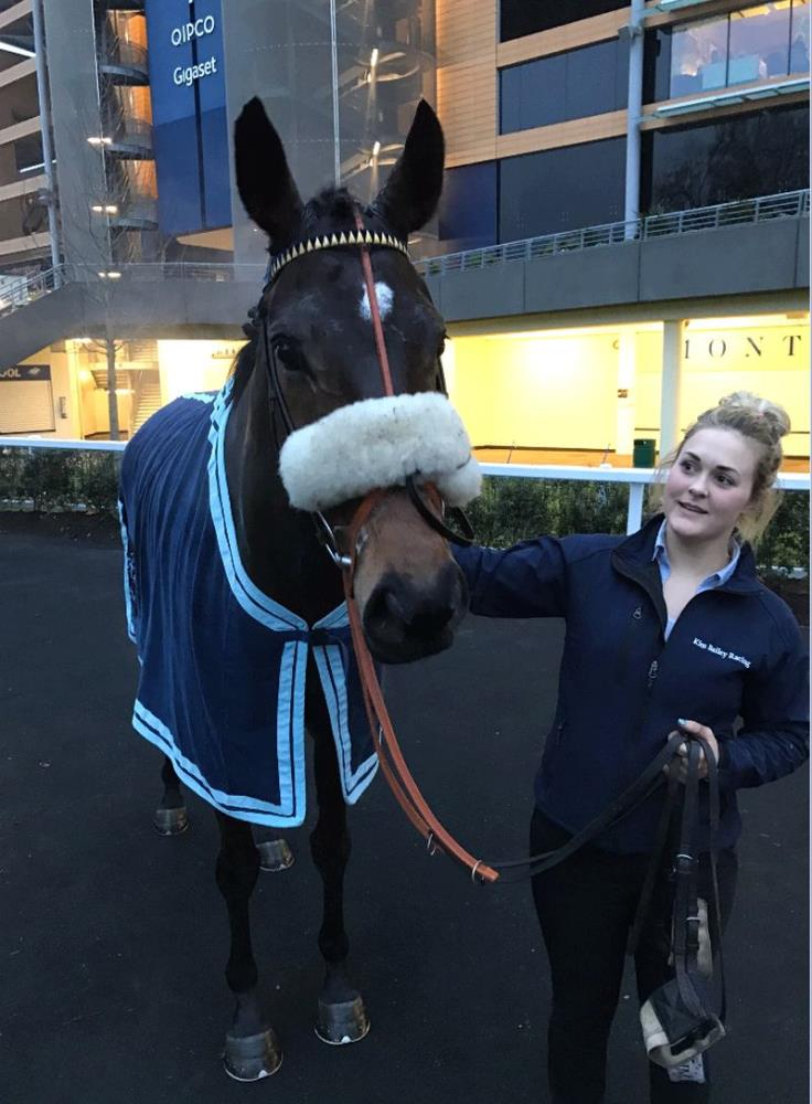 Minella Warrior after the bumper.. Sinead Alderman my travelling second head girl leading him..