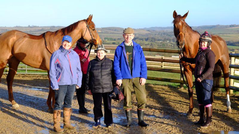 Kate Beim and John and Laura Garrett with their two Maggies Charity horses Another Venture and Biscuit