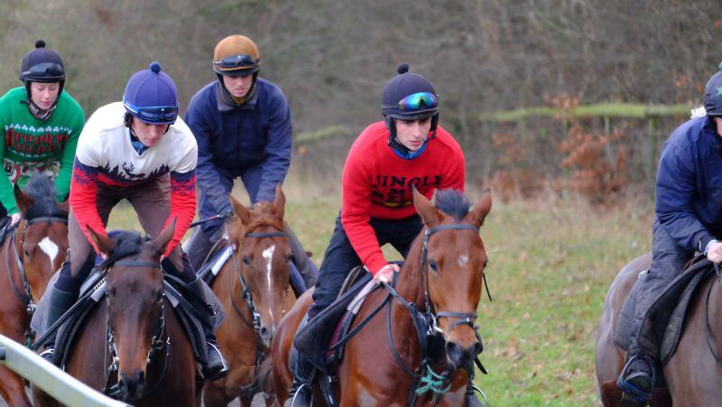 Fionn leading on the Midnight Legend 3 year old. Liam near side on The Passing Glance filly