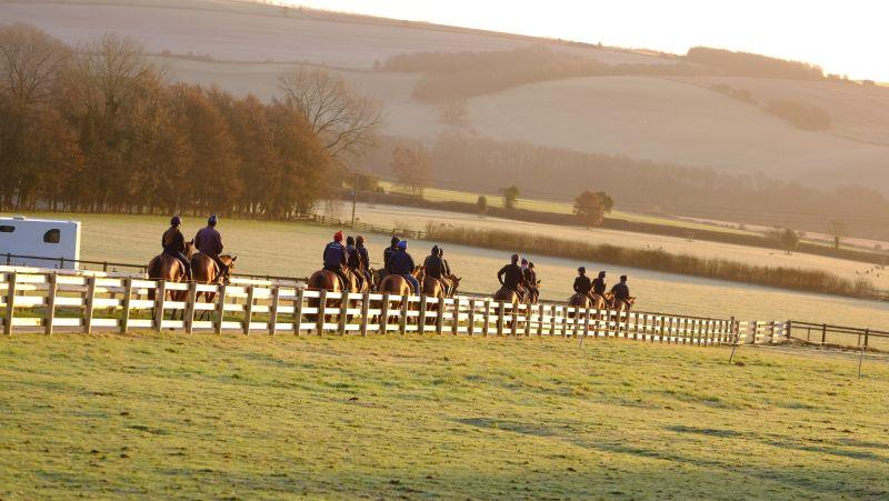 Heading down the drive second lot while Harry Topper heads off to Chepstow