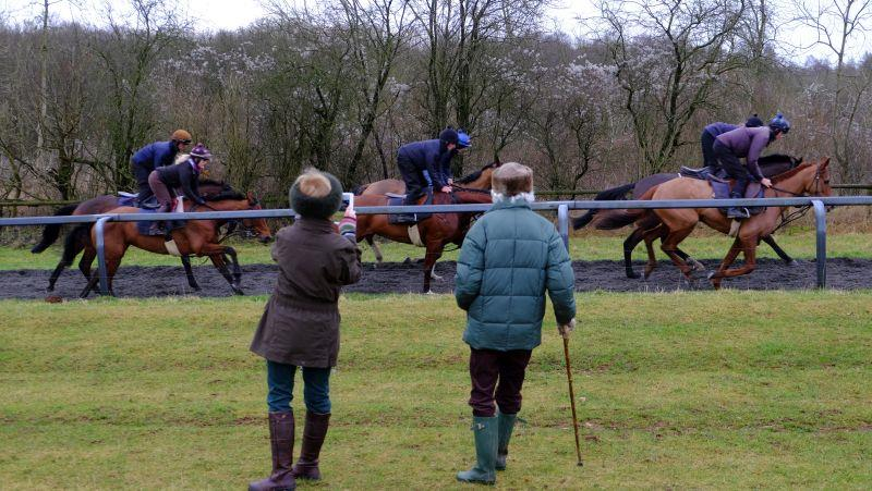 Mary Dulverton filming her horse Call Claude with her mother Bridget Houldsworth