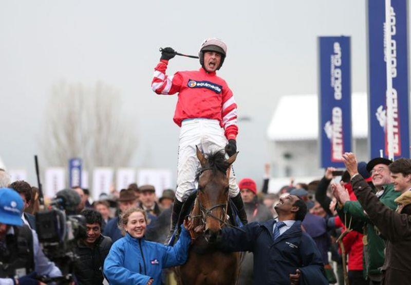 Coneygree and Nico de Boinville celebrate winning the 2015 Cheltenham Gold Cup..
