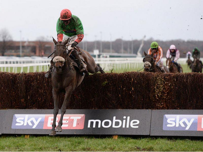The Rainbow Hunter jumping the last clear in the Sky Bet Chase at Doncaster 3 years ago..