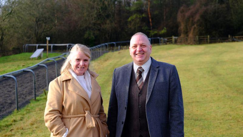 Simon and Trudy Williams who were her for their first visit to see their horse Monrocco