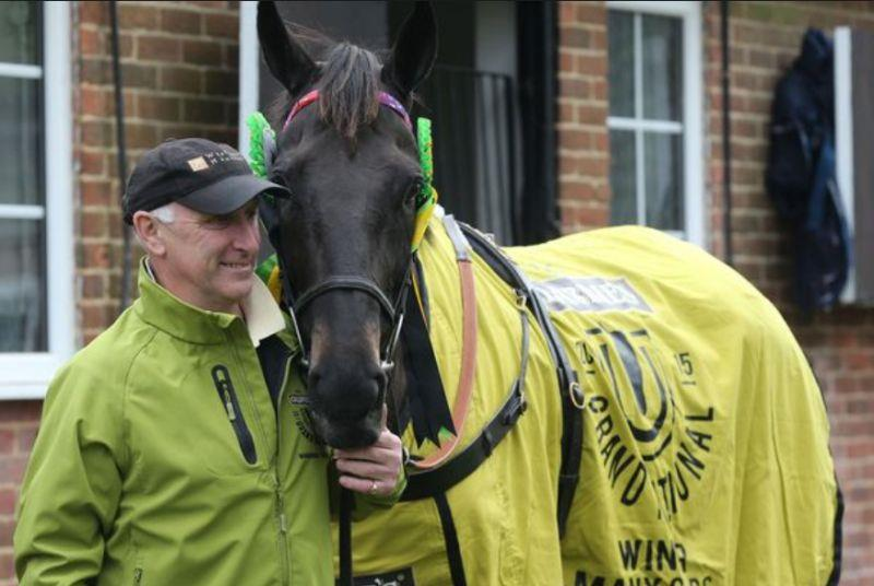 Trainer Oliver Sherwood with his wonderful horse Many Clouds