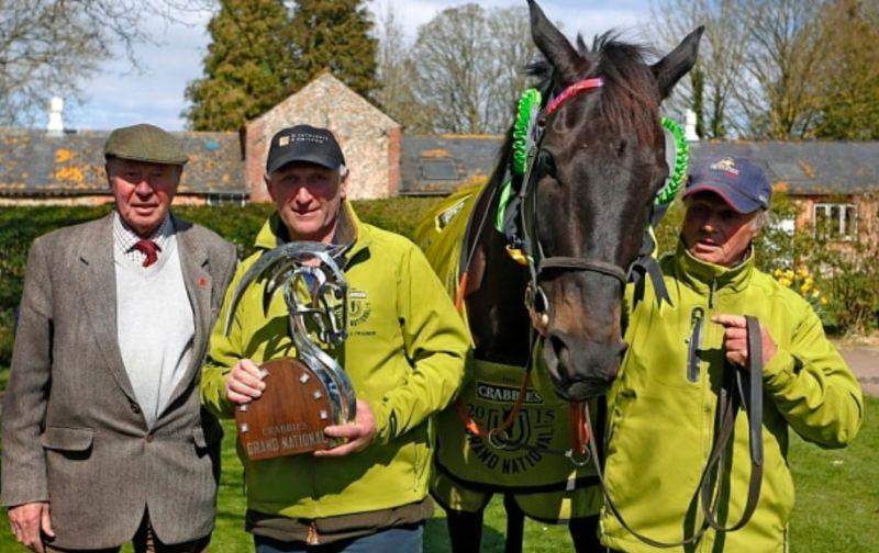 Owner Trevor Hemmings. Trainer Oliver Sherwood and Stable Lad  Chris 'CJ' Jerdin with Many Clouds